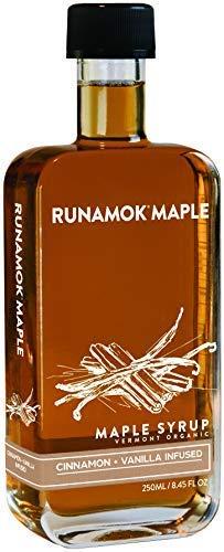Runamok Maple Cinnamon-Vanilla Infused Maple Syrup - Authentic Vermont Maple Syrup | Organic Maple Syrup - Nature's Best Sweetener | Premium Coffee, Breakfast & Pancake Syrup | 8.45 Fl Oz (250mL)