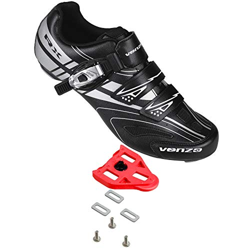 Venzo RX Road Bike Compatible with Shimano SPD SL Look Cycling Shoes and Look Delta Spin Cleats Black Size 47