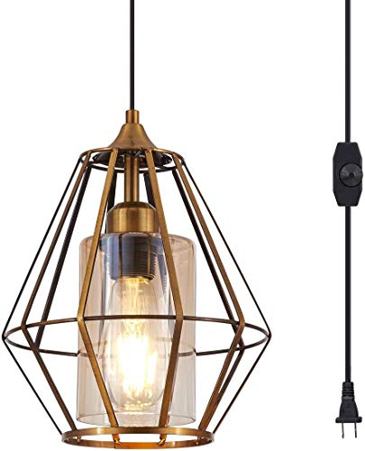 YLONG-ZS Hanging Lamps Swag Lights Plug in Pendant Light 16 FT Cord and Chain/Hanging Pendant Light Cage in-Line On/Off Dimmer Switch for Kitchen Island, Bronze Finish with Amber Glass Inner Shade