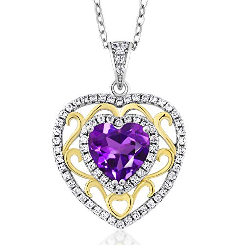 Gem Stone King 925 Sterling 2 Tone Purple Amethyst Pendant Necklace For Women (2.48 Ct Heart Shape with 18 Inch Silver Chain)