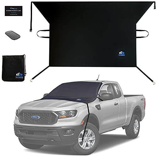 EzyShade Windshield Snow Cover + Bonus Item. See Size-Chart with Your Vehicle. Car Windshield Cover for Car, Truck and SUV. Thick Auto Winter Protector Keeps Ice, Frost and Snow Off. Max (L) Size