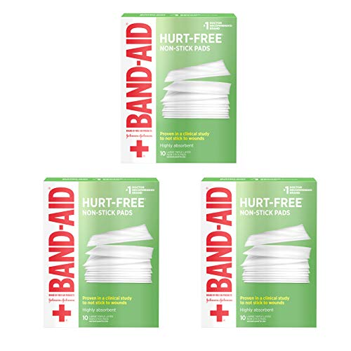 Band-Aid Brand Adhesive Bandages, Large Hurt-Free Non-Stick Pads, 3-Inch x 4-Inch Pads, 10 Count, 3 Pack