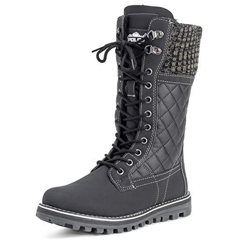Polar Womens Faux Fur Warm Thermal Waterproof Outdoor Walking Snow Winter Rubber Sole Calf Boots - Black Leather - US6/EU37 - YC0379