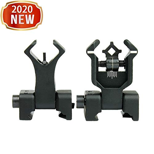 Offset Flip Up Sight - 2 Pack Flip Up Rear Front and Iron Sights Best Backup fits Picatinny & Weaver Rails - Flip Up Battle Sight Front and Rear Iron Sight Set Dual Aperture BUIS, Low Profile