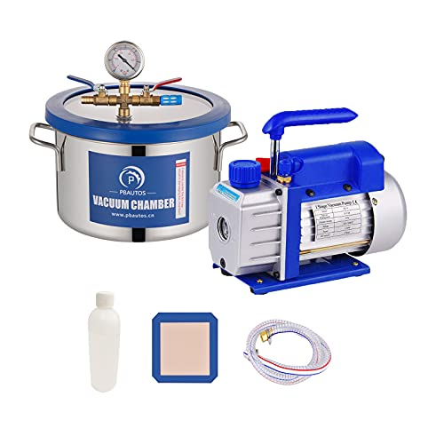 1.5 Gallon Vacuum Chamber with Pump, Stainless Steel Vacuum Chamber Kit, Vacuum Degassing Chamber Kit with 3CFM Single Stage Vacuum Pump & Oil Not for Wood Stabilizing