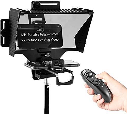 Teleprompter with Remote Control, Portable Teleprompter for Smartphone, iPad,Tablet, DSLR Camera,Professional Video Recording Live Streaming Speech,Hot Shoe Support LED Light/Microphone