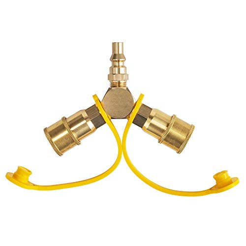 Lichamp 1/4' RV Propane Quick Connect Y Splitter Adapter for RV Trailer, Quick Connect Propane Hose Connector Brass to Motorhome, Tabletop Grill, BBQ, Tabletap Heater, Camping Stove