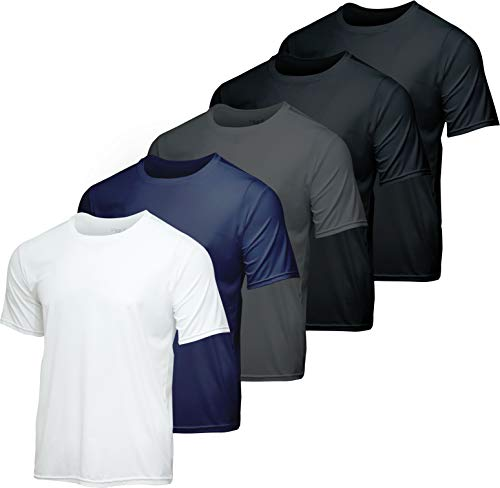 Men's Quick Dry Fit Dri-Fit Short Sleeve Active Wear Training Athletic Essentials Crew T-Shirt Fitness Gym Wicking Tee Workout Casual Sports Running Undershirt Top - 5 Pack,Set 4-M