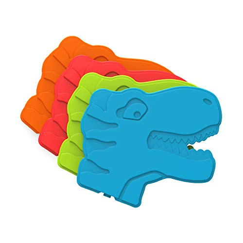 Bentgo Buddies Reusable Ice Packs - Slim Ice Packs for Lunch Boxes, Lunch Bags and Coolers - Multicolored 4 Pack (Dinosaur)