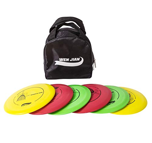 WENJIAN Disc Golf Set with 6 Discs-2 PCS Driver, 2 PCS Mid Range, 2 PCS Putter, Include Starter Disc Golf Carry Bag
