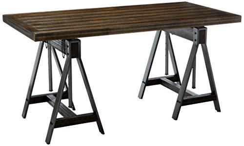Coaster Home Furnishings Deponte Adjustable Writing Desk Burnished Cognac and Weathered Gunmetal