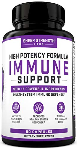Sheer Immune Support Supplement with Elderberry, Zinc, Echinacea Plus Vitamin C, E & A - Organic High Potency Immune System Booster - Supports Respiratory Health & Stress Response - 90 Capsules