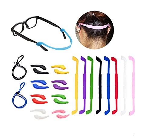 10 Pack Glasses Straps 8 Pack Anti-Slip Sports Glasses Strap with 8 Pairs Ear Grip Hooks Elastic Glasses Strap 2 Pack Eyeglass Sports Straps Eyeglass Temple Tips for Kids Adult