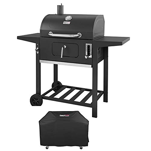 Royal Gourmet CD1824AC 24 Inch Charcoal Grill BBQ Outdoor Picnic, Patio Backyard Cooking, with Cover, Black