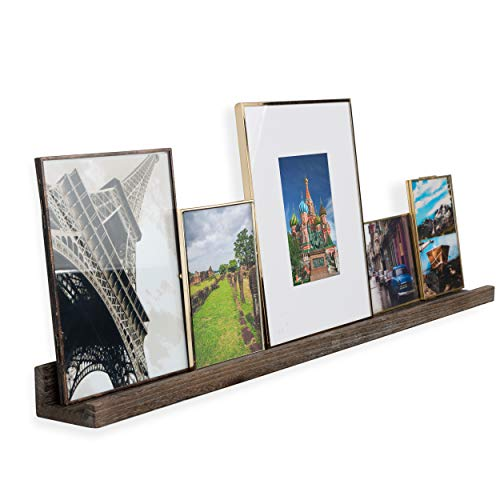 Rustic State Ted Wall Mount Narrow Picture Ledge Shelf Display | 36 Inch Floating Wooden Storage Shelves Torched Brown