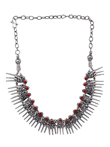 Efulgenz Boho Vintage Antique Ethnic Gypsy Tribal Indian Oxidized Silver Red Coral Statement Necklace Jewelry