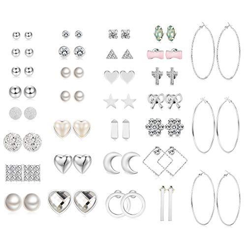 Jstyle 32 Pairs Assorted Multiple Stud Earrings for Women Simple Cute Big Hoop Earrings Set (B:32pairs(Silver tone))