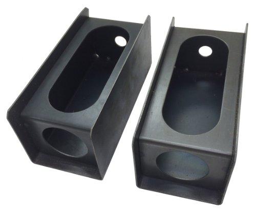 Set of 2 Steel Trailer 6' Oval Tail Light / 2' Round Side Light Mount Box - 24013