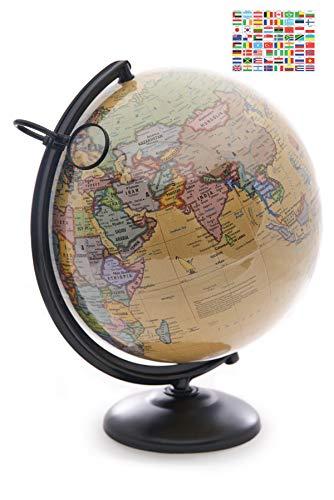 12 Inch World Globe with Metal Stand and Magnifying Glass. Perfect Desk or Classroom Globe for Adults and Children. 2021 Edition Includes Nation Flag Stickers