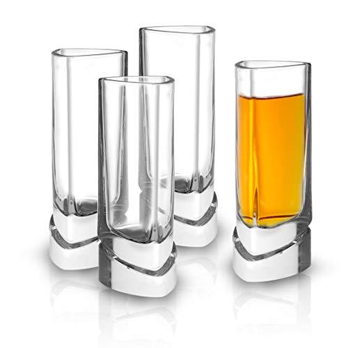 JoyJolt Aqua Vitae Shot Glass Set of 4. Crystal Shot Glasses, Triangle Clear Shot Glasses Set with Off Set Base. 1 – 2 oz Cups for Tequila, Limoncello, Vodka or Aperitif. Fun Christmas Gifts