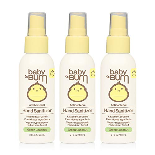 Baby Bum Hand Sanitizer - Antibacterial Spray - Natural Fragrance Non-Drying Coconut and Aloe Formula Perfect for Sensitive Skin - Travel Size - 2 Ounce (Pack of 3)
