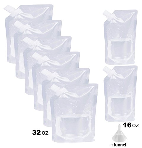 Liquor Rum Runner Flask Cruise Kit Sneak Alcohol Drink Wine Pouch Bag Set Heavy Duty Reusable Concealable Flasks For Booze & Cocktails 6x32oz+ 2x16oz+Funnel