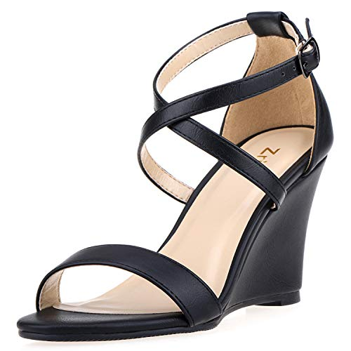 ZriEy Women's Wedge Sandals Ankle Strap High Heels 3 Inches Open Toe Mid Heel Sandals Bridal Party Shoes Black Size 7