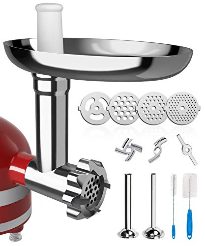 X Home Universal Food Grinder Attachment Compatible with Kitchenaid Stand Mixer Include Sausages Stuffing Tubes, Durable Metal Meat Grinder with 4 Plates Can Grind Hard Cheese, Meat, Vegetable