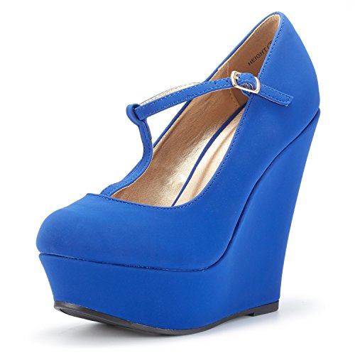DREAM PAIRS Wedge-Height Royal Blue Mary Jane Platform Wedges Shoes for Women Size 6 B(M) US