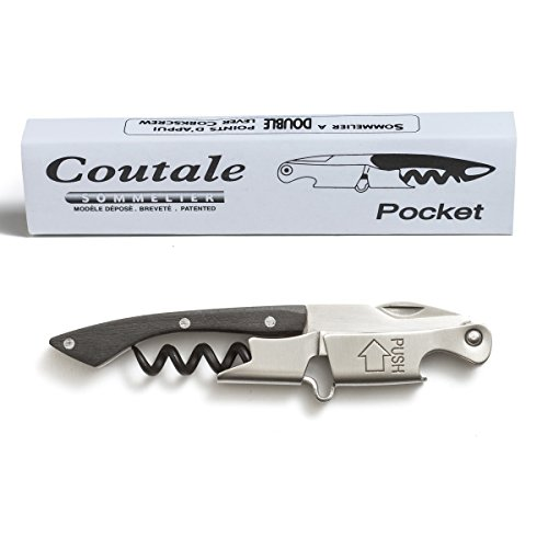 Pocket By Coutale Sommelier - The French Patented Spring-Loaded Double Lever Waiters Corkscrew and Wine Bottle Opener (Blackwood)
