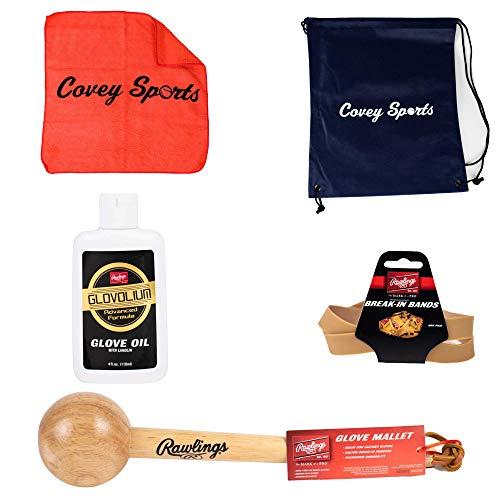 Covey Sports Baseball Softball Glove Break in Kit Bundle (Rawlings Glove Mallet, Glove Jumbo Band, and Glove Oil Cloth and Bag)