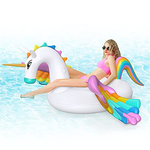 Giant Inflatable Unicorn Pool Float Floatie Ride On with Fast Valves Large Rideable Blow Up Summer Beach Swimming Pool Party Lounge Raft Decorat