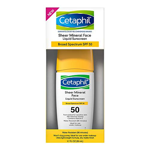 Cetaphil Sheer 100% Mineral Liquid Sunscreen for Face With Zinc Oxide Broad Spectrum SPF 50 Formulated for Sensitive Skin -Dermatologist Recommended Brand, Unscented, 1.7 Fl Oz