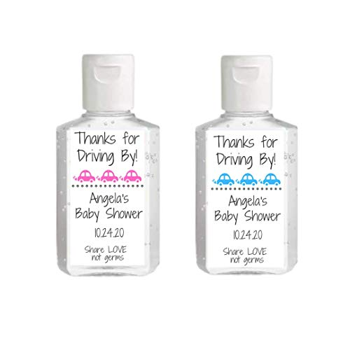 Drive By Baby Shower Hand Sanitizer Label | Sheet of 20 Personalized Labels | Drive Thru Baby Shower Favor | Personalized Hand Sanitizer Sticker