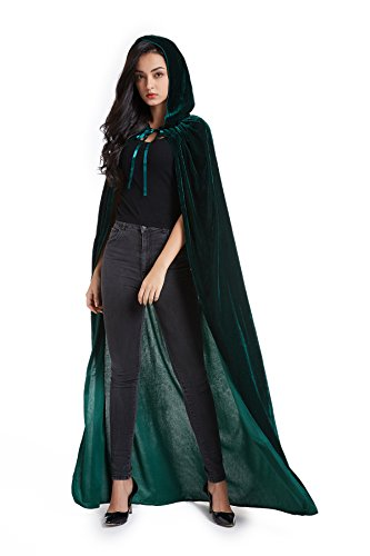 Crizcape Unisex Halloween Costume Cape Hooded Velvet Cloak for Men and Womens Green