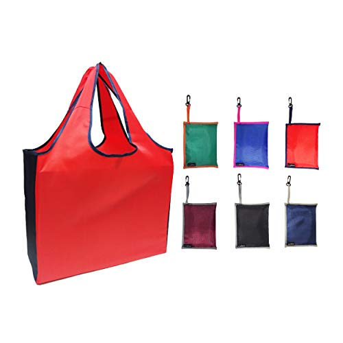 6-Pack XXL Lightweight Foldable Shopping Bag, Bulk Recycle Reusable Grocery Bags, Water Resistant, Foldable, Washable