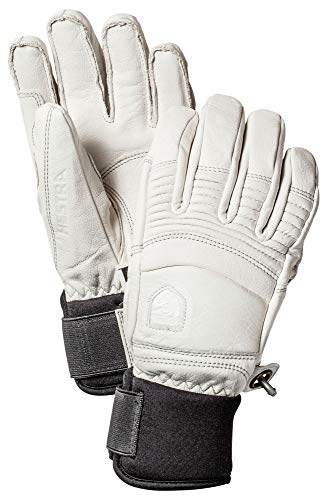 Hestra Leather Fall Line - Short Freeride 5-Finger Snow Glove with Superior Grip for Skiing and Mountaineering - Offwhite - 7