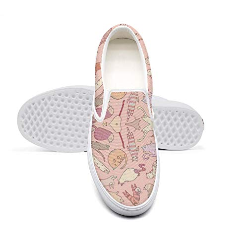 Womens Lazy Canvas Slip-On Shoes Cats and Kittens Feral cat Persian cat Casual DailySneaker Shoes
