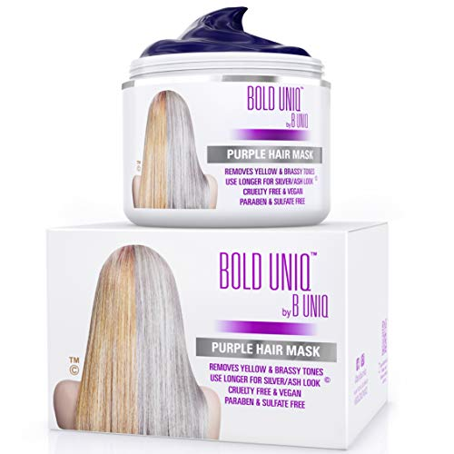 Purple Hair Mask for Blonde, Platinum & Silver Hair - Banish Yellow Hues: Blue Masque to Reduce Brassiness & Condition Dry Damaged Hair - Sulfate Free Toner