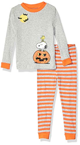 Peanuts Girls' Toddler Kids Unisex Halloween Holiday 2 Piece Cotton Snug Fit Pajama Set, Snoopy Woodstock, 4T