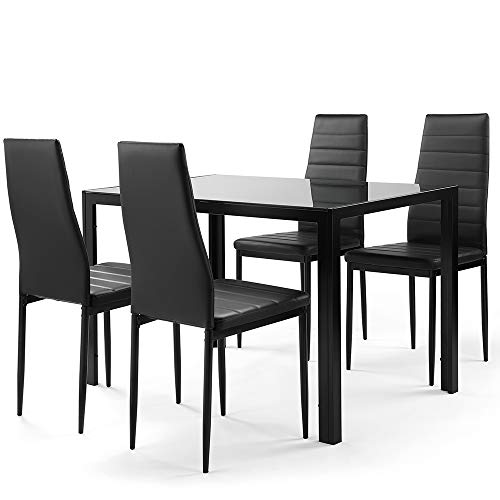 Ammy 5 Pieces Dining Table Set,Dining Room Table Set for 4 Persons,Small Spaces Kitchen Table and Chairs for 4 Table with Chairs (Black)