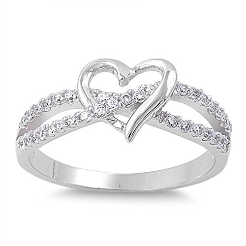Oxford Diamond Co Cubic Zirconia Infinity with Heart .925 Sterling Silver Ring Size 7