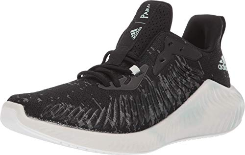 adidas Unisex-Adult Alphabounce+ Parley Running Shoe, Black/Linen Green/White, 11.5 M US