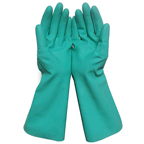 Sunyel Heavy Duty Cleaning Gloves, 15 Mil Green Reusable Household Nitrile Gloves with Resistance to Oil, Acid, Alkali and Solvent (Medium)