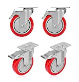 GloEra 5 Inch Swivel Caster Wheels Heavy Duty 1500 LBS Capacity with Safety Dual Caster, 4 Pack All with Brake No Noise Lockable Wheels (Red)