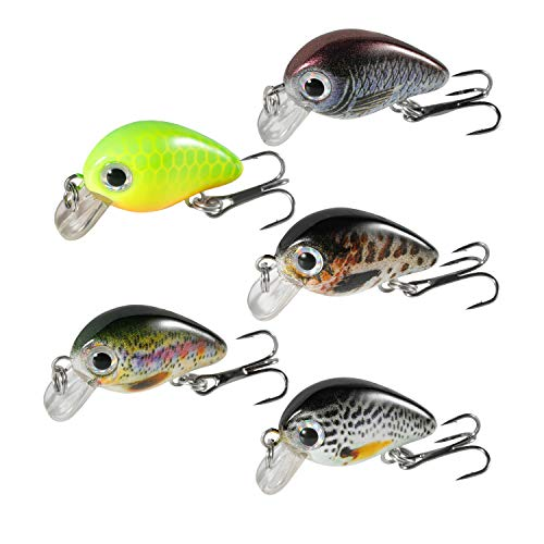 Magreel Mini Crankbaits Set Lifelike Fishing Hard Lures Kit for Trout Bass Perch Pack of 5 with Tackle Box
