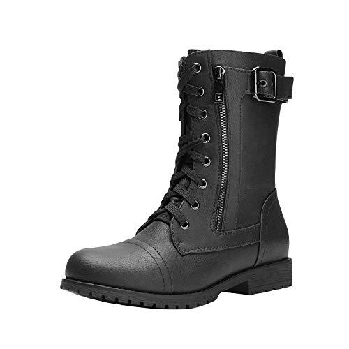 DREAM PAIRS Women's New Mission Black Combat Mid Calf Boots Size 9.5 B(M) US