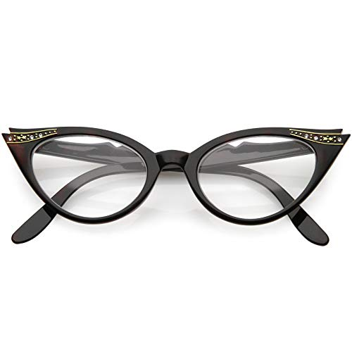 Vintage Cateyes 80s Inspired Fashion Clear Lens Cat Eye Glasses with Rhinestones (Tortoise)