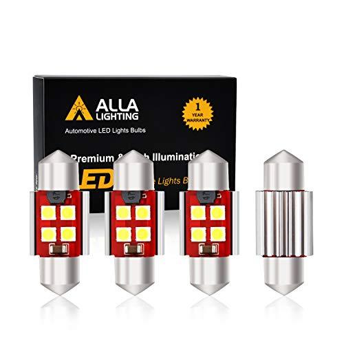 Alla Lighting 800 Lumens DE3175 DE3021 DE3022 LED Bulb CAN BUS Xtreme Super Bright 6000K Xenon White 31mm(1.25') 3030 SMD Interior Festoon Dome/Map/Trunk/Glove Box/Door Lights Replacement(Pack of 4)