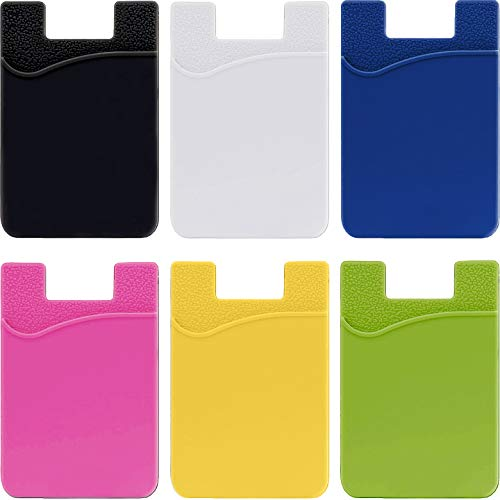 6-Pack Phone Pocket Card Holder Wallet Sticker - Adhesive Stick On Back Silicone ID Credit Card Case Pouch Sleeve Compatible with iPhone Samsung Galaxy Android